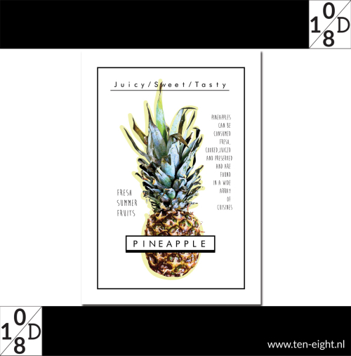Pineapple, plakposter, teksten, illustraties, custom, fun, wall, stickers, muur, plaktextiel