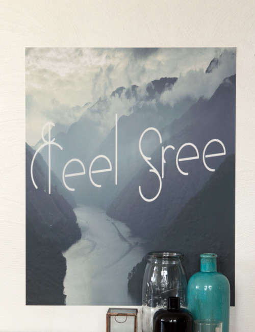 Feel free, plakposter, teksten, illustraties, custom, fun, wall, stickers, muur