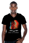 mannen t-shirt, mens shirt, zwart, opdruk, native, rood, geel, blauw, veren, v-hals, print, Dee li loko, ten-eight design,korte mouwen, colour black, v-neck, short sleeves, red, blue, yellow, witte opdruk, tekst ,arowaks